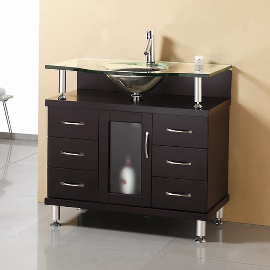 Shop virtu usa modern bathroom vanity espresso integrated single sink bathroom vanity with glass Bathroom cabinets made in usa