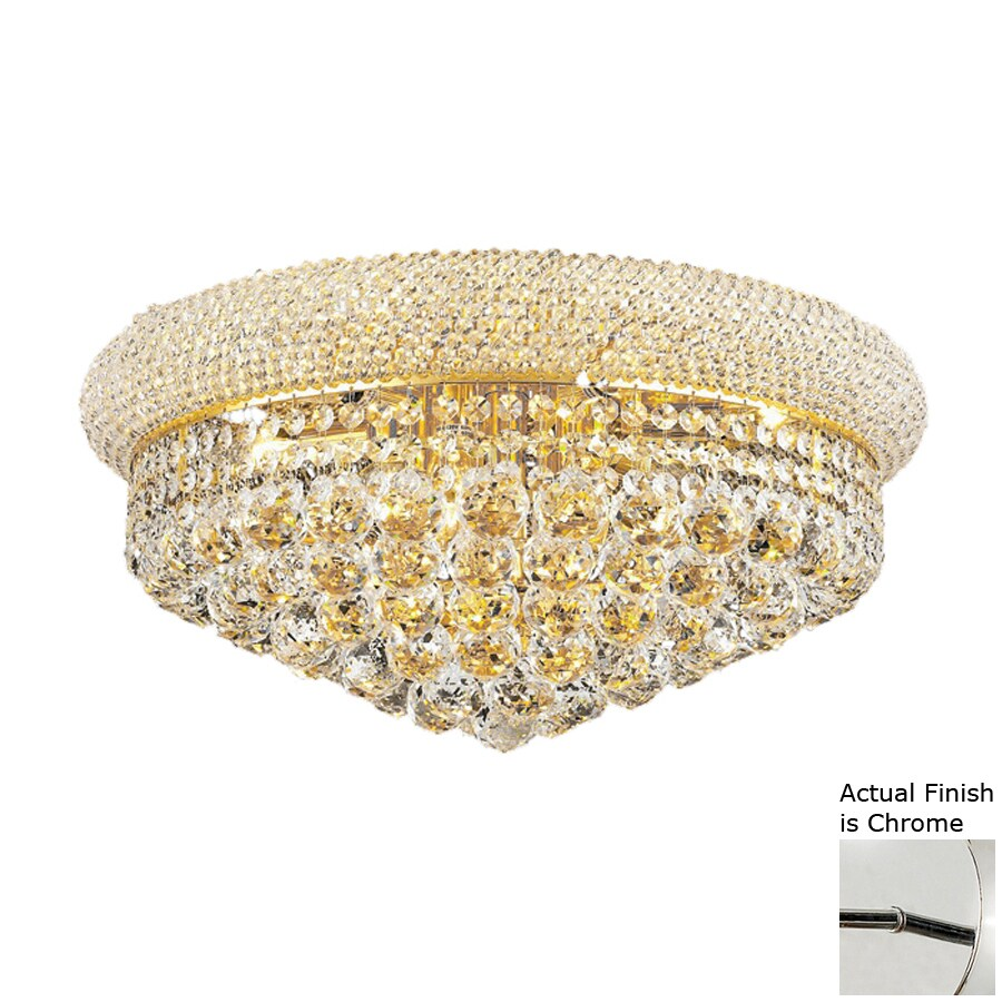 Elegant Lighting Primo 20-in W Chrome Crystal Flush Mount Light