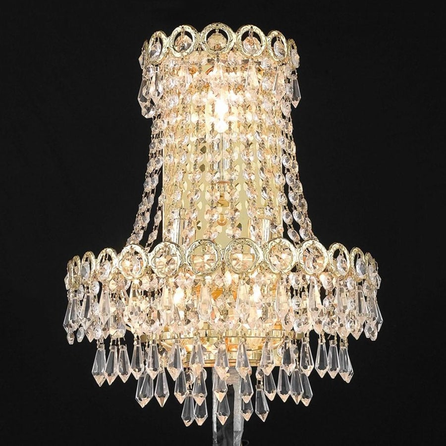 Elegant Lighting Century 12-in W 1-Light Gold Crystal Pocket Hardwired Wall Sconce
