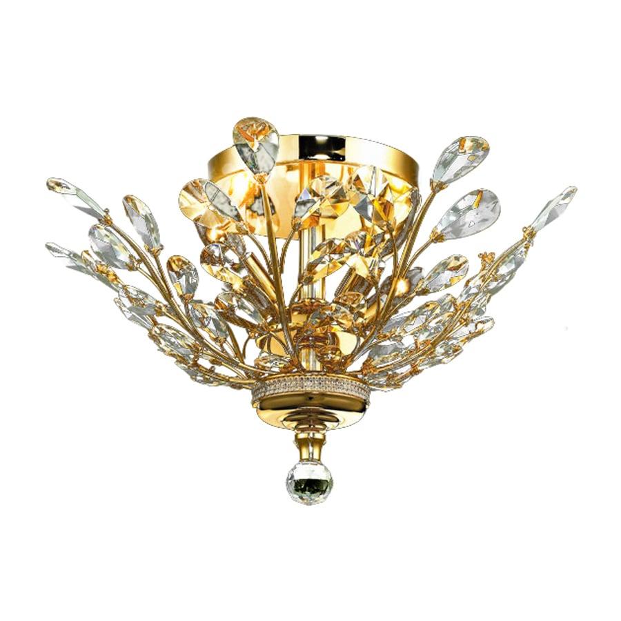 Elegant Lighting Orchid 20 In W Gold Crystal Semi Flush