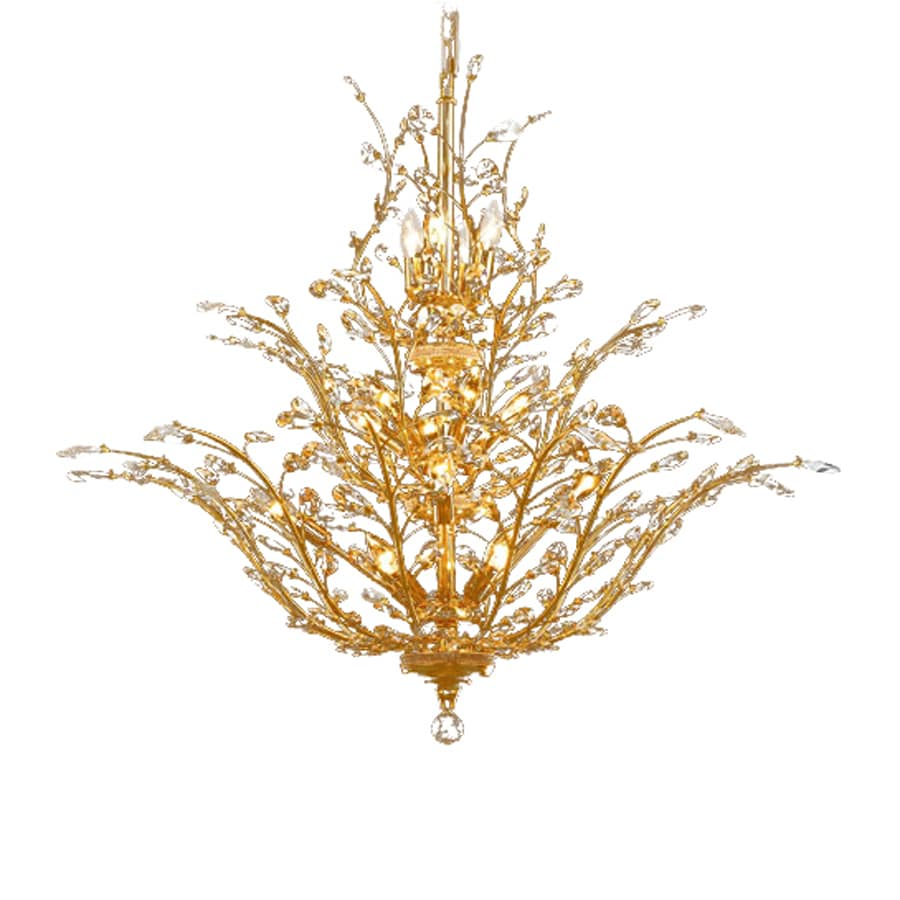 Elegant Lighting Orchid 41-in 18-Light Gold Crystal Abstract Chandelier