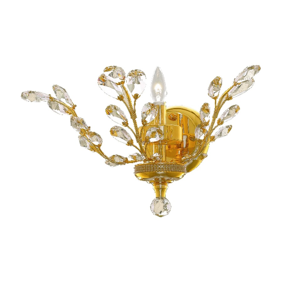Elegant Lighting Orchid 16-in W 1-Light Gold Crystal Accent Pocket Hardwired Wall Sconce