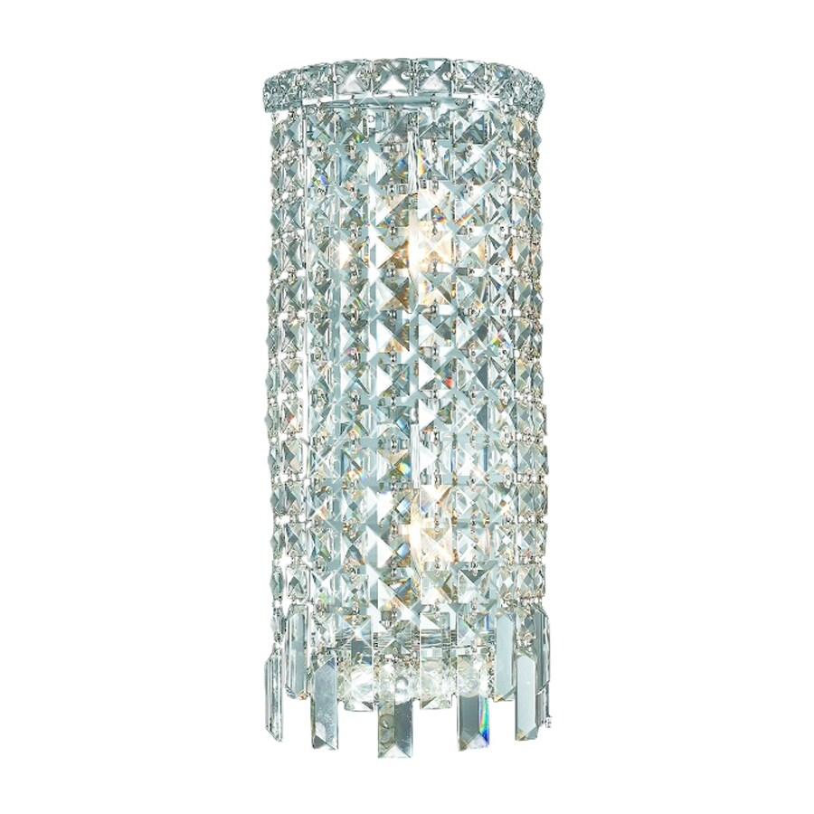 Elegant Lighting Maxim 8-in W 1-Light Chrome Crystal Pocket Hardwired Wall Sconce