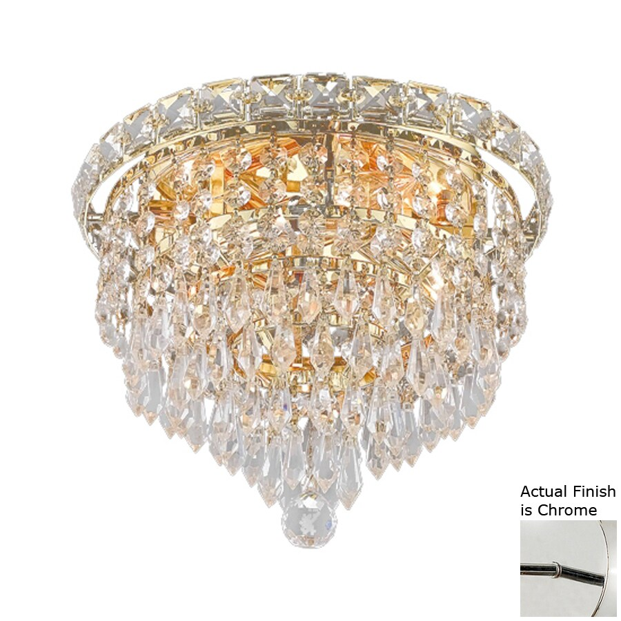 Elegant Lighting Tranquil 10-in W Chrome Crystal Flush Mount Light