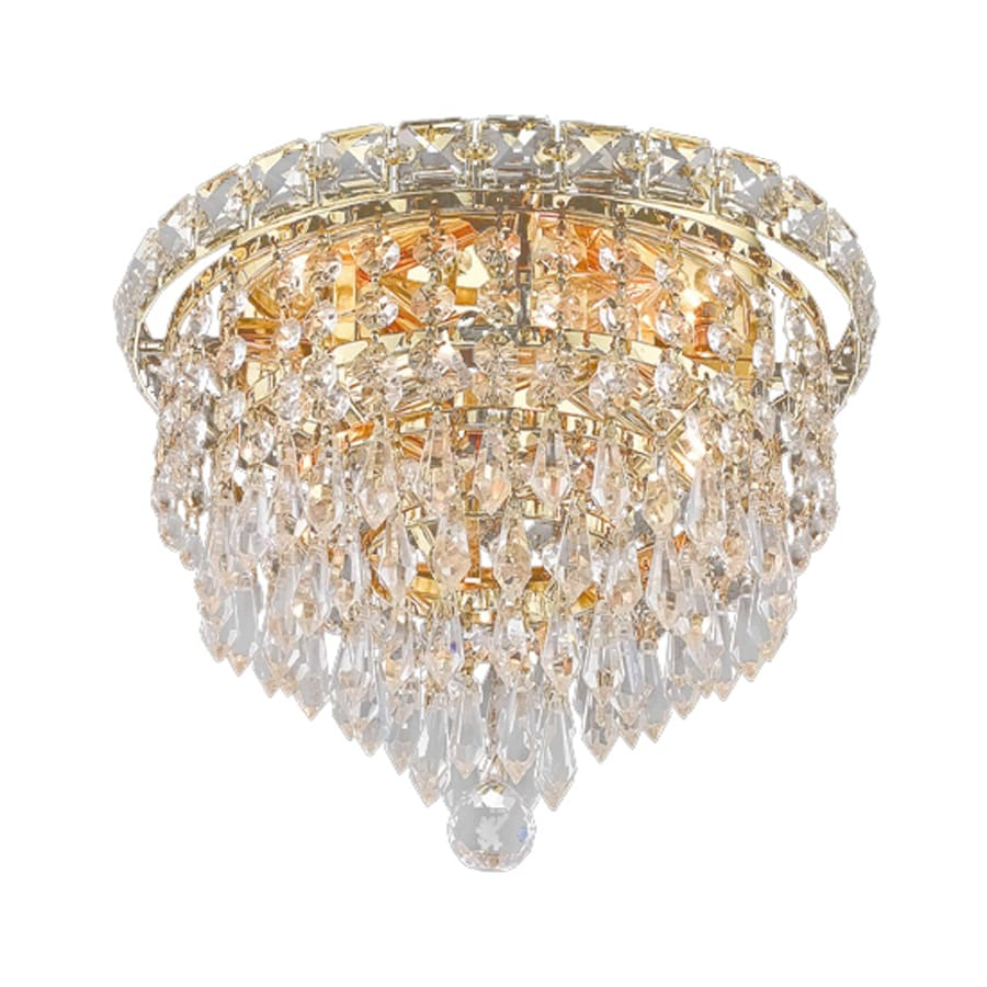 Elegant Lighting Tranquil 10-in W Gold Crystal Flush Mount Light