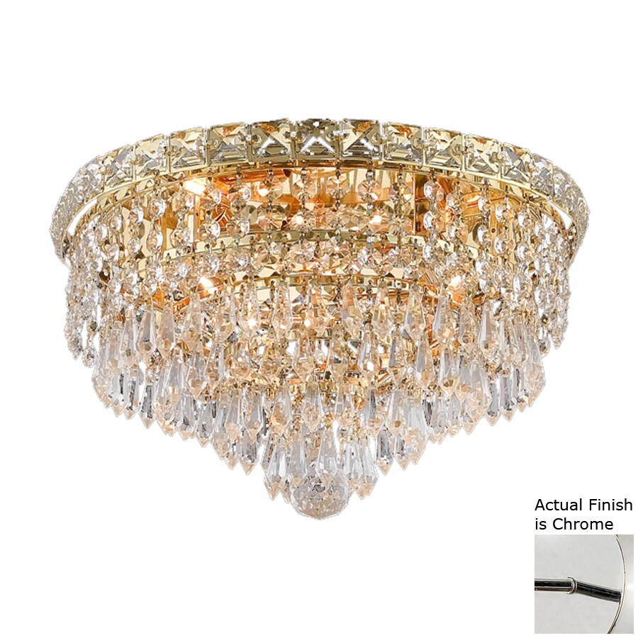 Elegant Lighting Tranquil 14-in W Chrome Crystal Flush Mount Light