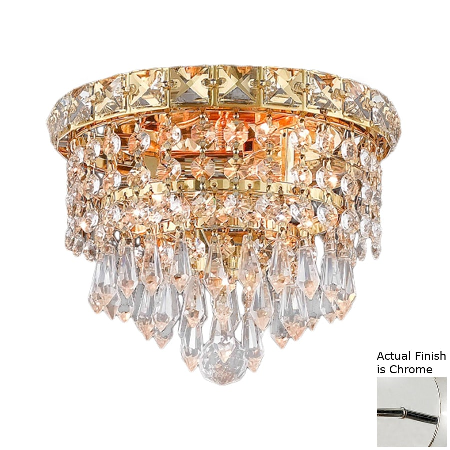 Elegant Lighting Tranquil 8-in W Chrome Crystal Flush Mount Light