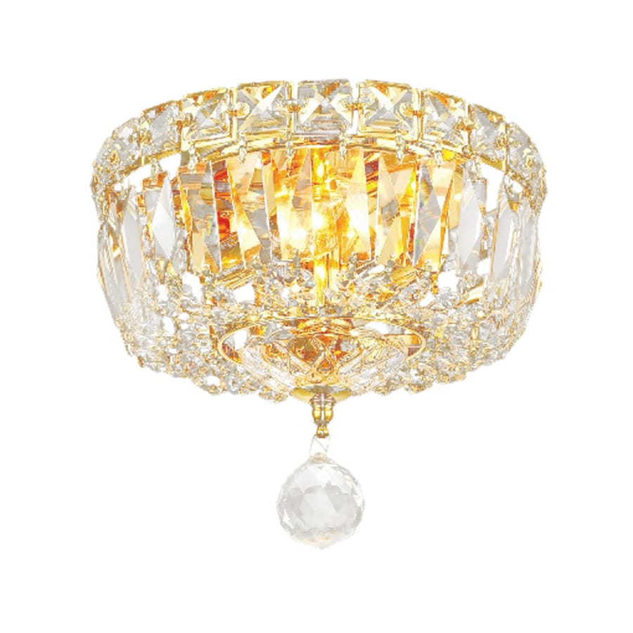 Elegant Lighting Tranquil 8-in W Gold Crystal Ceiling Flush Mount Light