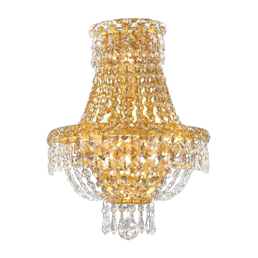 Elegant Lighting Tranquil 12-in W 1-Light Gold Crystal Pocket Hardwired Wall Sconce