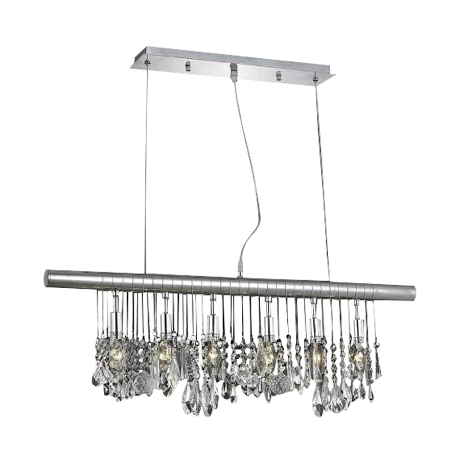 Elegant Lighting Chorus Line 2-in W 6-Light Chrome Crystal Kitchen Island Light with Crystal Shades