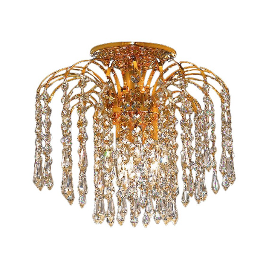 Elegant Lighting Falls 16-in W Gold Crystal Semi-Flush Mount Light