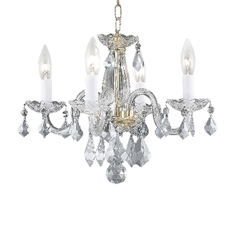Shop elegant lighting rococo 15 in 4 light gold crystal Crystal candle chandelier