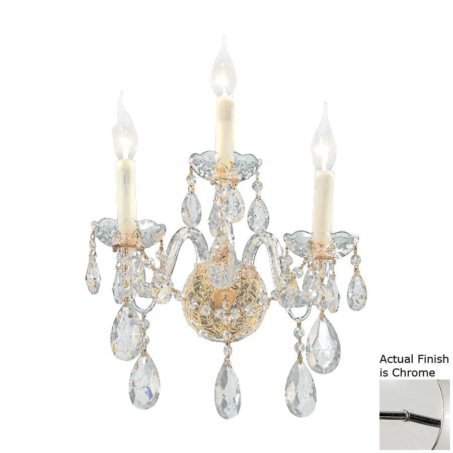 Elegant Lighting Alexandria 13-in W 3-Light Chrome Crystal Accent Candle Hardwired Wall Sconce
