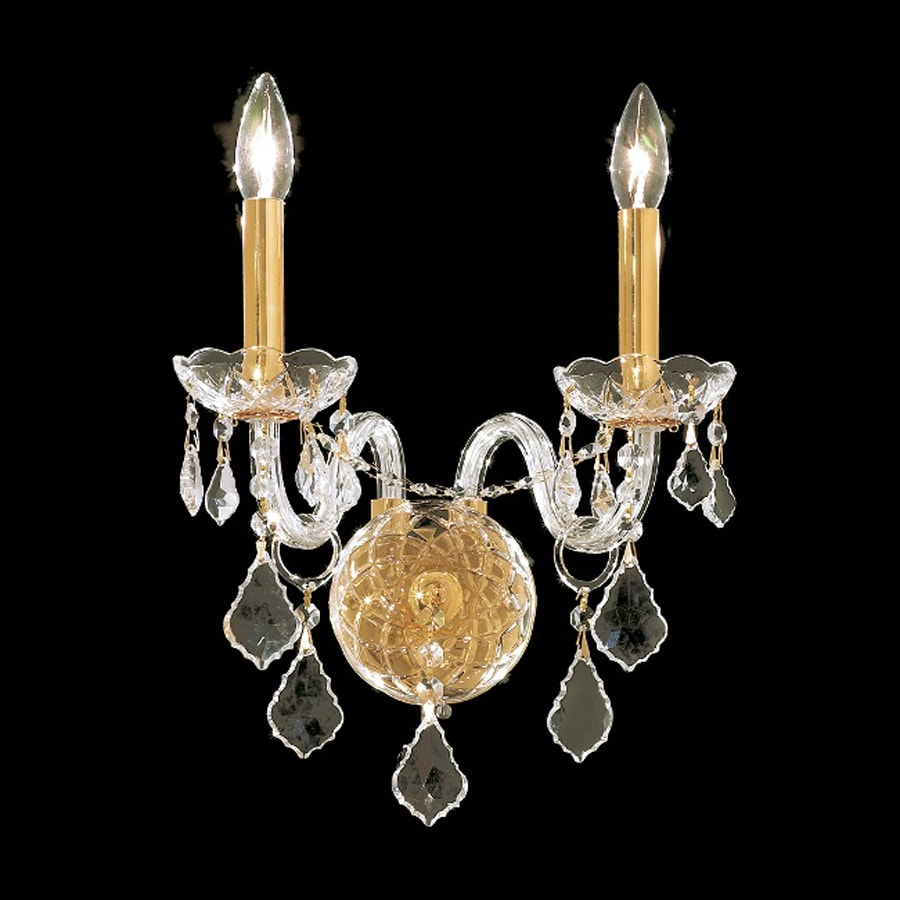 Shop Elegant Lighting Alexandria 13-in W 2-Light Gold Crystal Accent Candle Wall Sconce at Lowes.com