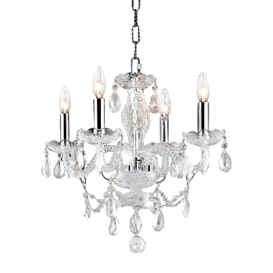Shop elegant lighting princeton 17 in 4 light chrome Crystal candle chandelier