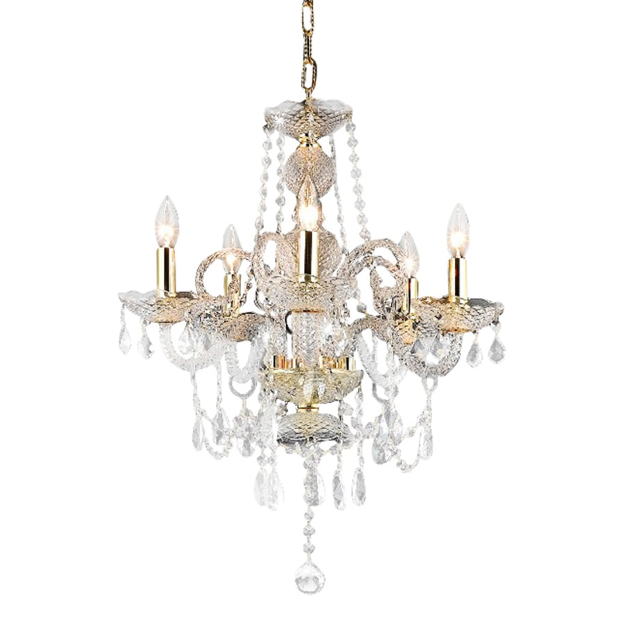 Shop elegant lighting princeton 20 in 5 light gold crystal Crystal candle chandelier