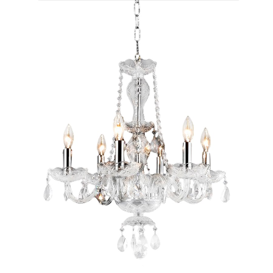 Shop elegant lighting princeton 20 in 6 light chrome Crystal candle chandelier