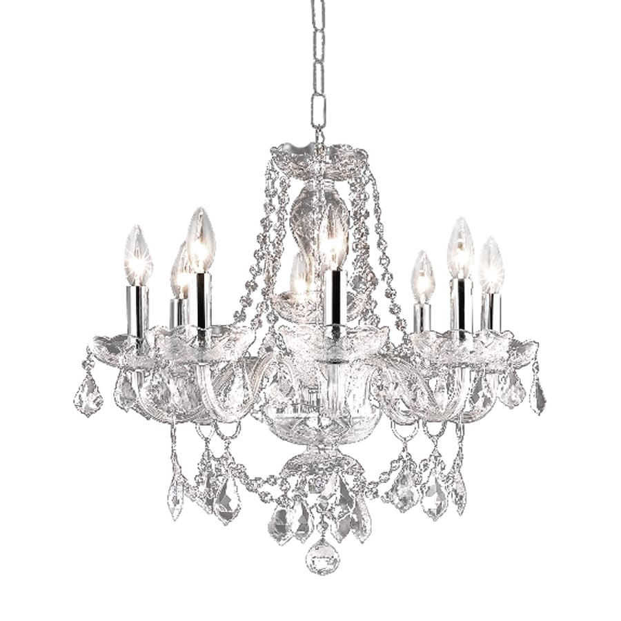 Shop elegant lighting princeton 20 in 8 light chrome Crystal candle chandelier