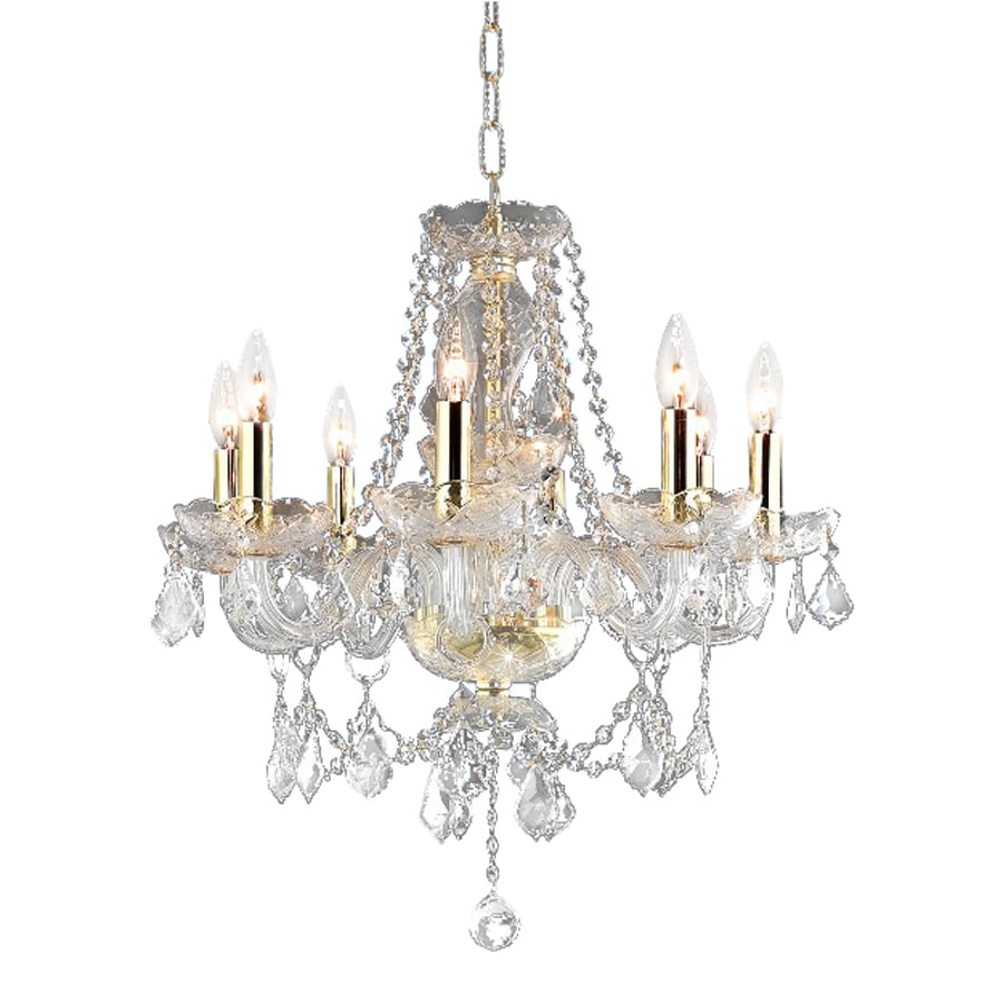 Shop elegant lighting princeton 20 in 8 light gold crystal Crystal candle chandelier