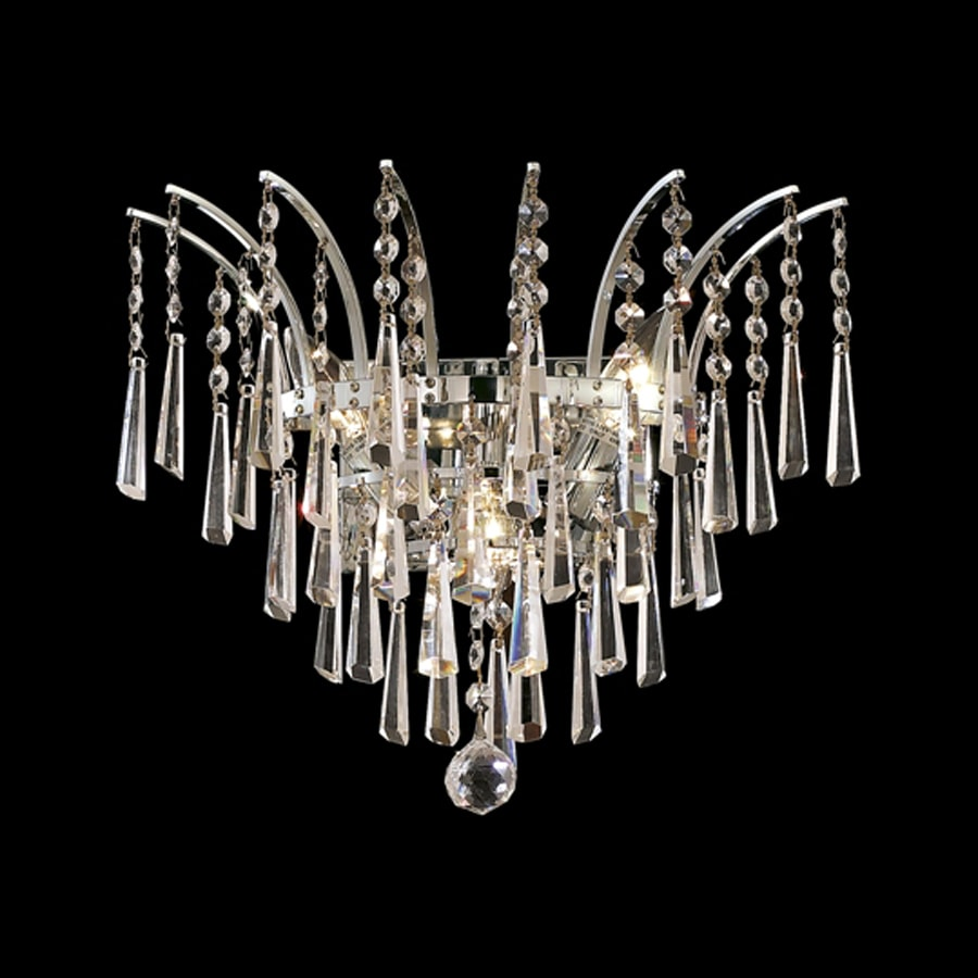 Elegant Lighting Victoria 16-in W 1-Light Chrome Crystal Pocket Hardwired Wall Sconce
