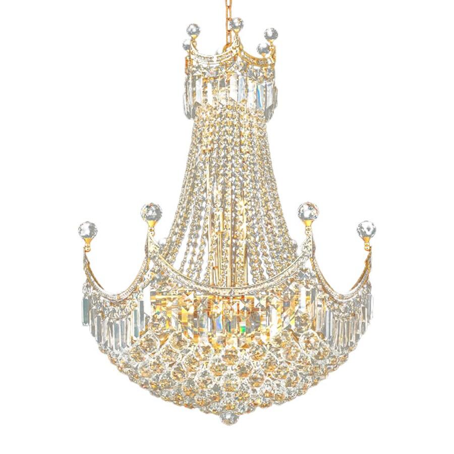 Elegant Lighting Corona 24-in 18-Light Gold Crystal Crystal Empire Chandelier