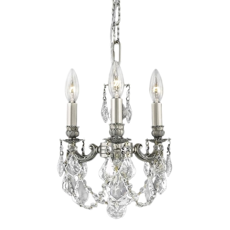 Elegant Lighting Lillie 10-in 3-Light Pewter Crystal Crystal Candle Chandelier
