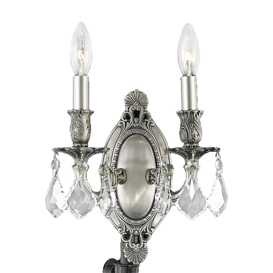 Elegant Lighting Rosalia 9-in W 2-Light Pewter Crystal Accent Candle Wall Sconce