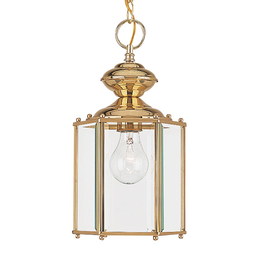Sea Gull Lighting Classico 12.5-in Polished Brass Outdoor Pendant Light