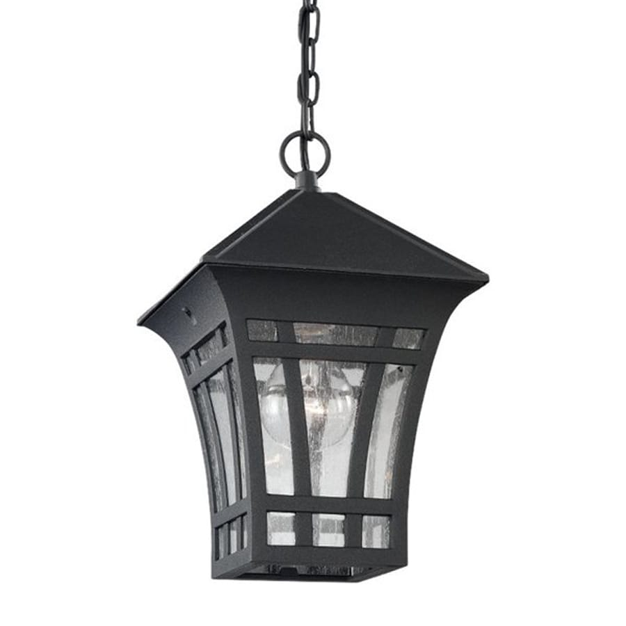 Sea Gull Lighting Herrington 11.25-in Black Outdoor Pendant Light
