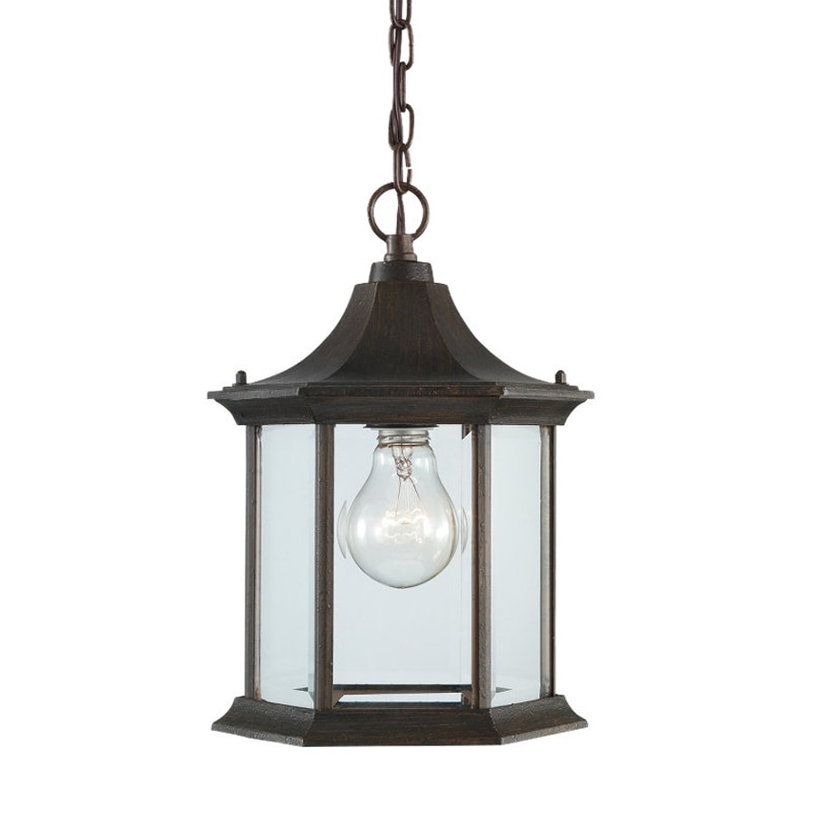 Sea Gull Lighting Ardsley Court 11.5-in Rust Patina Hardwired Outdoor Pendant Light