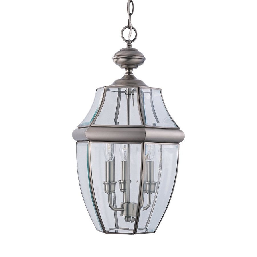 Sea Gull Lighting Lancaster 20.75-in Antique Brushed Nickel Outdoor Pendant Light