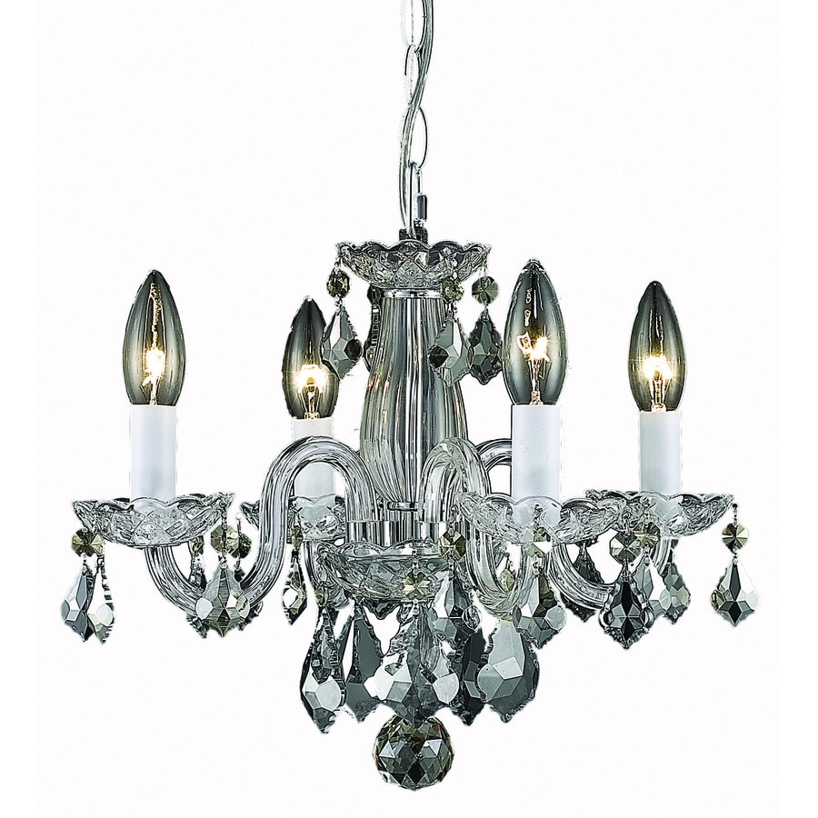 Elegant Lighting Rococo 15-in 4-Light Chrome Crystal Crystal Candle Chandelier