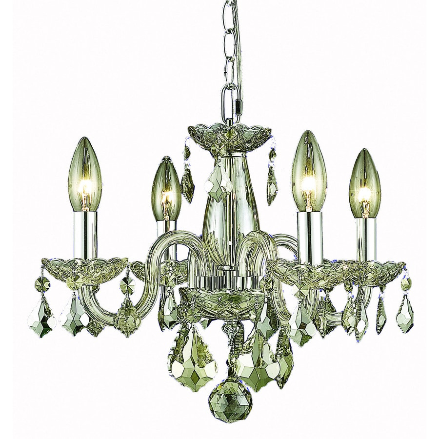 Elegant Lighting Rococo 15-in 4-Light Golden Shadow Crystal Crystal Candle Chandelier