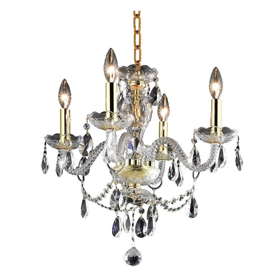 Elegant Lighting Princeton 17-in 4-Light Gold Crystal Crystal Candle Chandelier