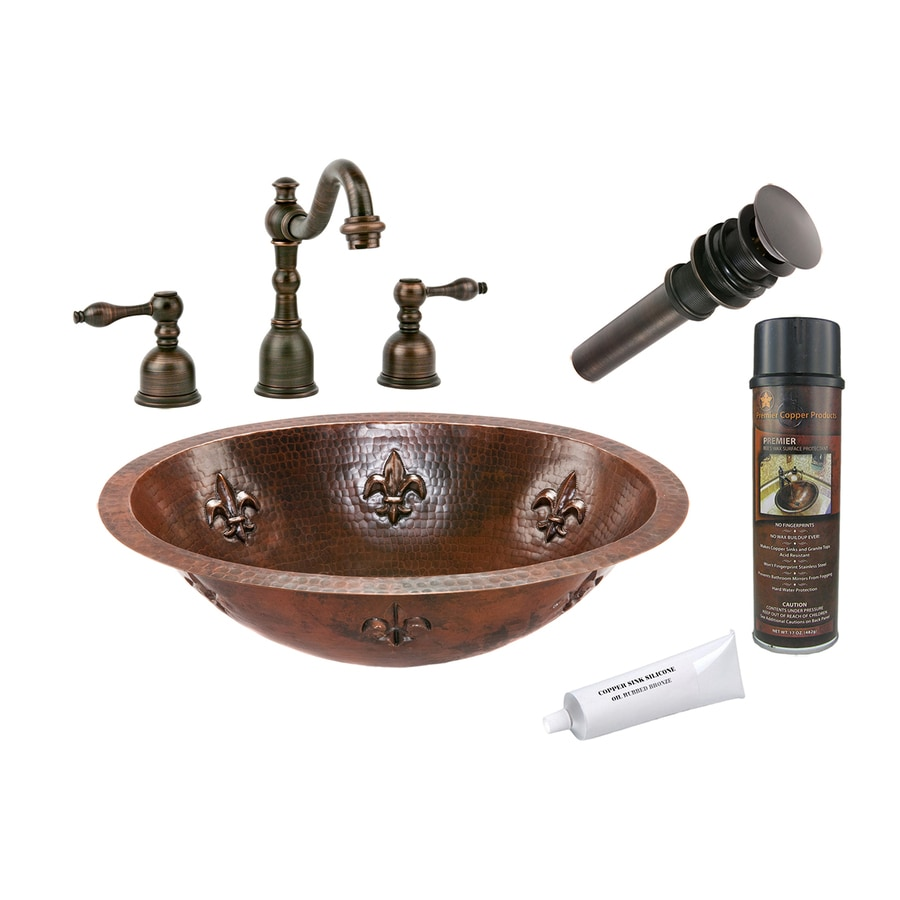 Premier Copper Products Oil Rubbed Bronze Copper Undermount Oval Bathroom Sink (Drain Included)
