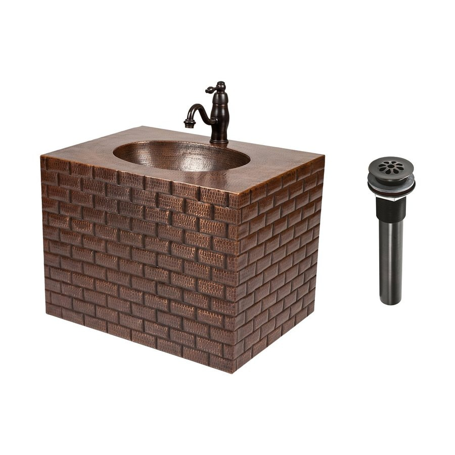 Premier Copper Products Oil Rubbed Bronze 24-in Integral Single Sink Bathroom Vanity with Solid Surface Top (Faucet Included)