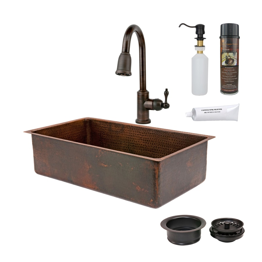 Premier Copper Products 33-in x 19-in Oil Rubbed Bronze Single-Basin-Basin Copper Drop-in (Customizable)-Hole Residential Kitchen Sink All-In-One Kit