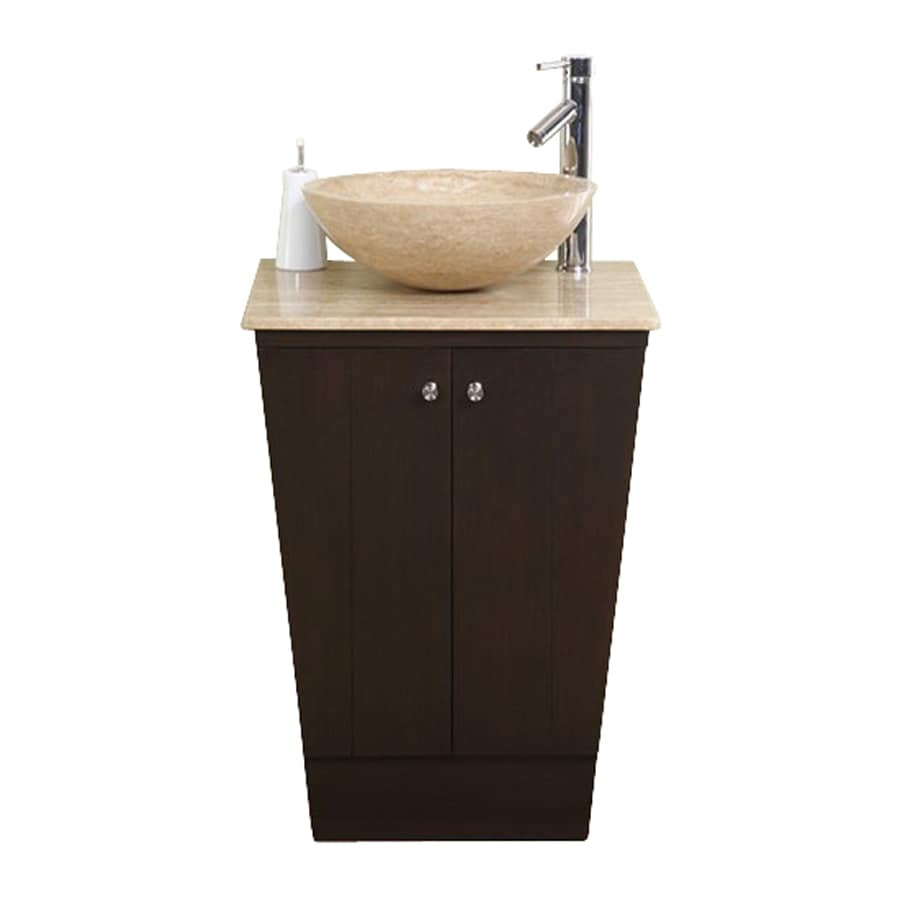 Silkroad Exclusive Lillian Dark Walnut Vessel Single Sink Bathroom Vanity  With Travertine Top (Common: