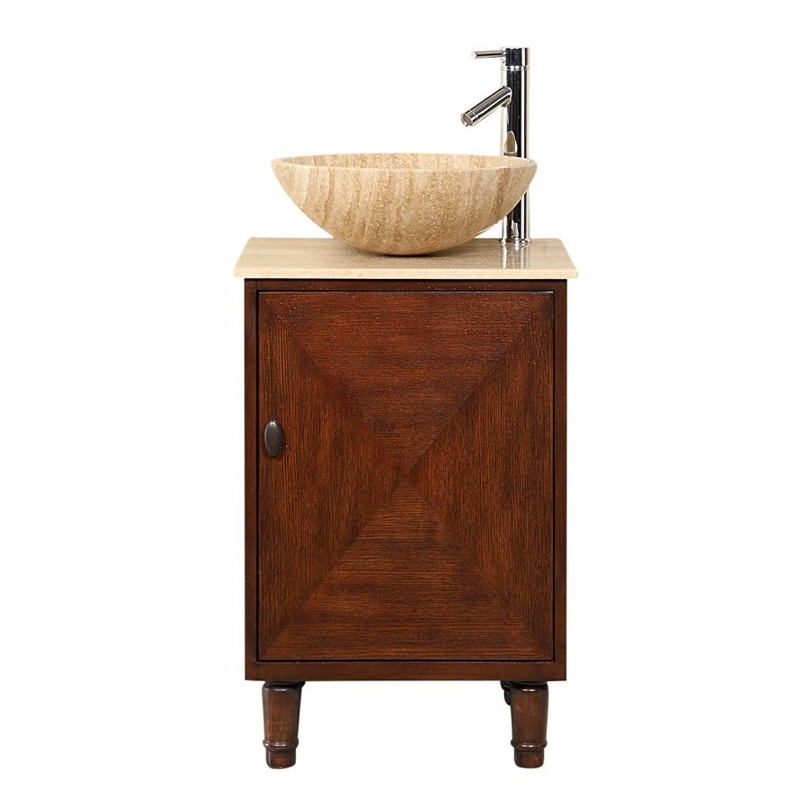 Silkroad Exclusive Cambridge English Chestnut (Common: 20-in x 18-in) Vessel Single Sink Bathroom Vanity with Travertine Top (Actual: 20-in x 18-in)
