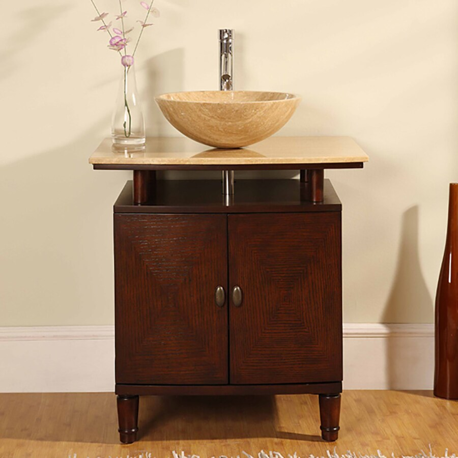 Silkroad Exclusive Lydia Brown Vessel Single Sink Bathroom Vanity with Travertine Top (Common: 29-in x 22-in; Actual: 29-in x 22-in)