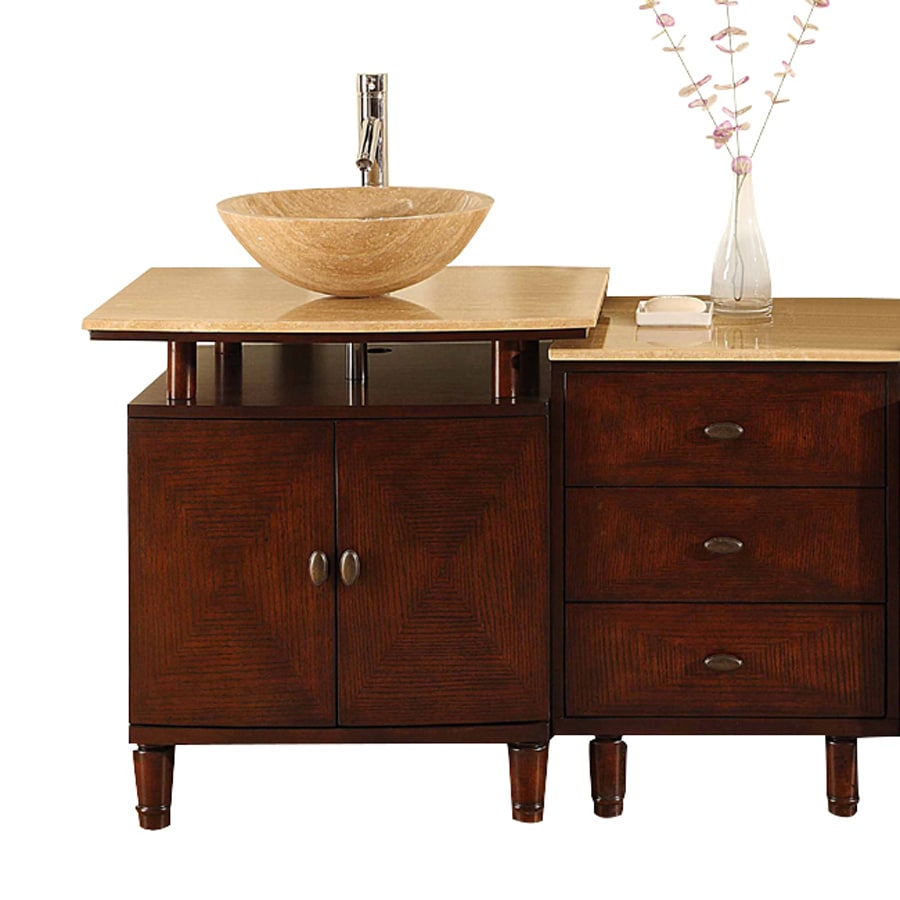 Silkroad Exclusive Lydia Dark Chestnut Single Vessel Sink Bathroom Vanity with Travertine Top (Common: 47-in x 22-in; Actual: 46.5-in x 22-in)