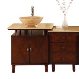 Silkroad Exclusive Lydia Brown Vessel Single Sink Bathroom Vanity With  Travertine Top (Common: 47