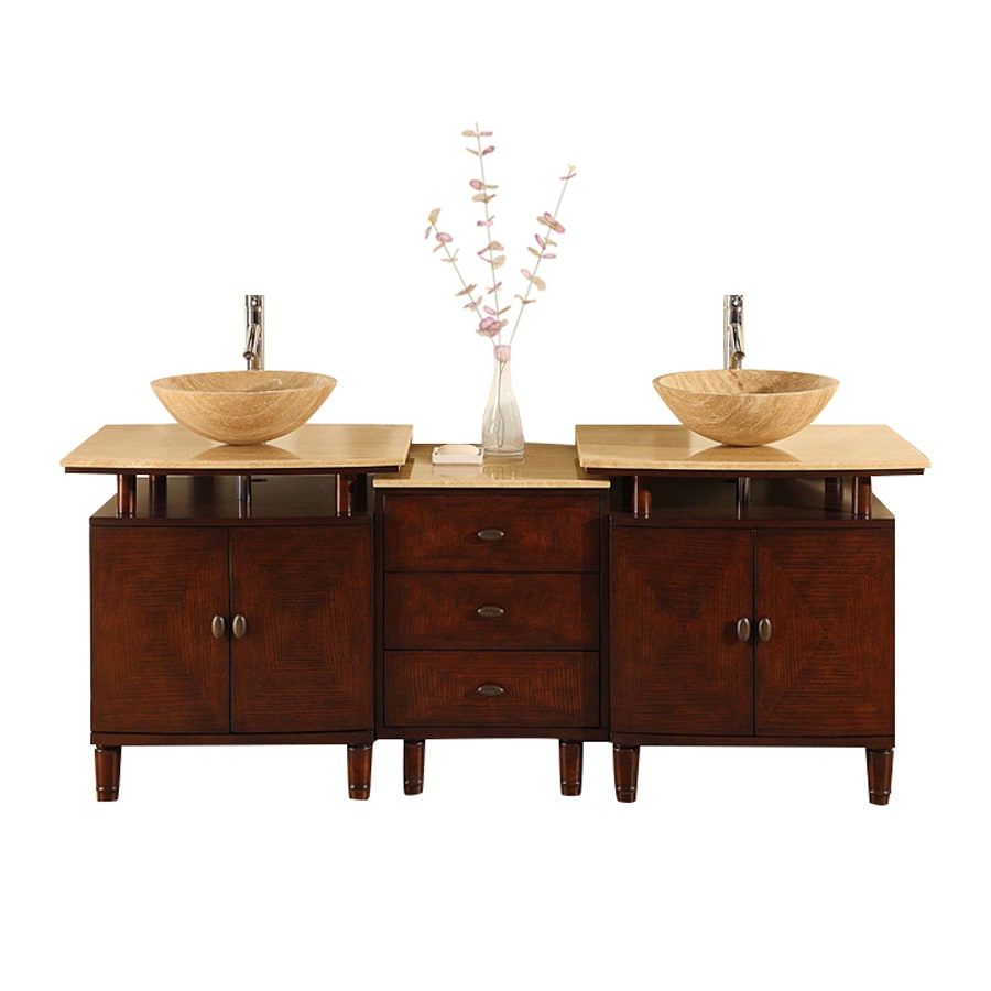 Silkroad Exclusive Lydia Dark Chestnut Double Vessel Sink Bathroom Vanity with Travertine Top (Common: 73-in x 22-in; Actual: 73-in x 22-in)