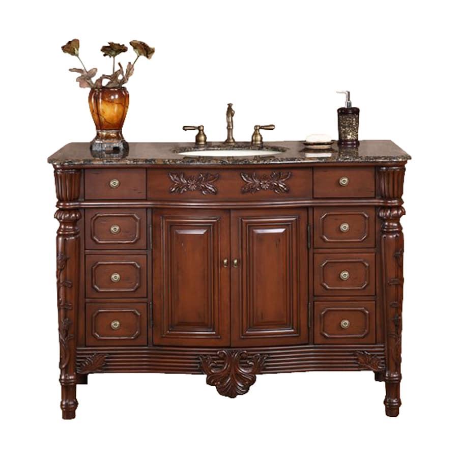 Silkroad Exclusive Dark Cherry Undermount Single Sink Bathroom Vanity with Granite Top (Common: 48-in x 22-in; Actual: 48-in x 22-in)
