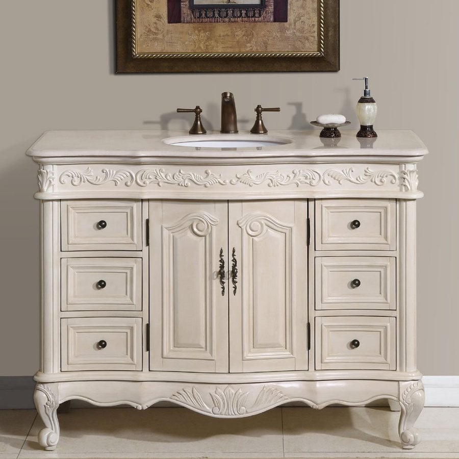 Shop silkroad exclusive ella antique white undermount for Restroom vanity