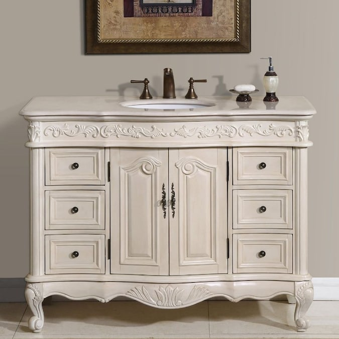 Silkroad Exclusive Ella Antique White Single Sink Vanity With Cream Marfil Natural Marble Top Common 48 In X 22 In In The Bathroom Vanities With Tops Department At Lowes Com