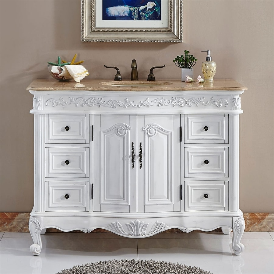 Shop Silkroad Exclusive Ella Antique White Undermount Single Sink - Lowes 48 bathroom vanity