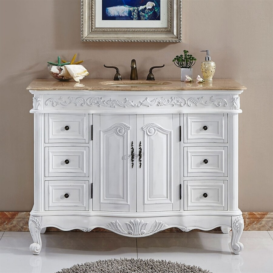 Silkroad Exclusive Ella Antique White Undermount Single Sink Bathroom Vanity  with Travertine Top (Common: - Shop Silkroad Exclusive Ella Antique White Undermount Single Sink