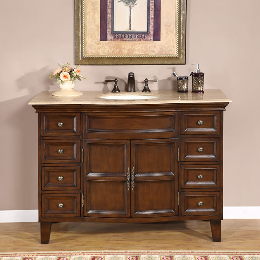 Silkroad Exclusive Claire English Chestnut (Common: 49-in x 22-in) Undermount Single Sink Bathroom Vanity with Travertine Top (Actual: 48.5-in x 22-in)