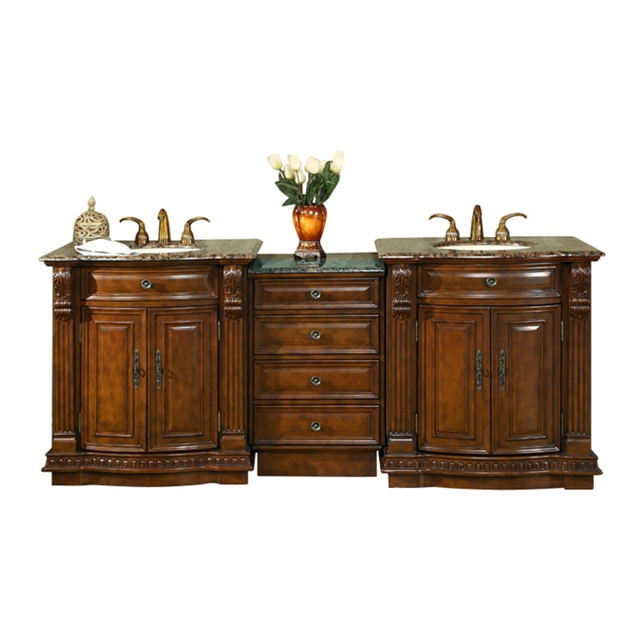 Silkroad Exclusive Empress English Chestnut Undermount Double Sink Bathroom Vanity with Granite Top (Common: x 22-in; Actual: 84.5-in x 22-in)